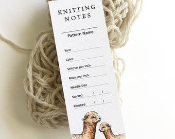 "Knitting Gauge Swatch Notes, Crochet Stitch List, Gift for Knitter, Project Notes, Crochet Gift, Knitting Accessories, 2"" x 5.5"""