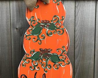 Reversible Stacked Pumpkins & Snowman Door Hanger