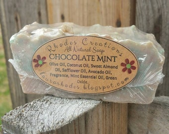 All Natural Handmade Soap Chocolate Mint*Made in Small Batches*Handcrafted for bath and body