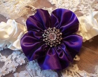 Regency Purple Wedding Garter with Black Tulle Overlay on an Ivory Band, Bridal Garter