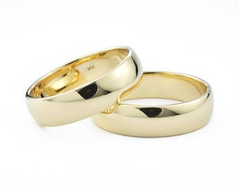 His and His Wedding Ring Set, 6mm 14K Gold Domed Wedding Ring Set, 14K Gold Wedding Bands for Him & Him