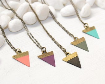 Triangle Necklace, Geometric Necklace, Triangle Pendant, Black Triangle Necklace, Layering Necklace, Triangle Jewelry, Geometric Jewelry