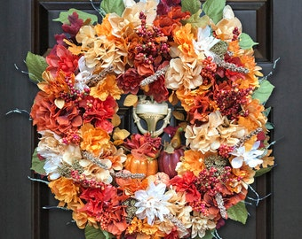 Fall Wreath for Front Door, Harvest Wreaths, September Wreaths, Thanksgiving Wreath, Colorful Fall Wreath, Fall Floral Wreath