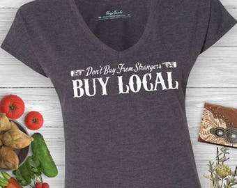 Buy Local Ladies' V-Neck Farmer's Market Small Business T-Shirt- shop local, shop small, farmer's market shirt women's v-neck