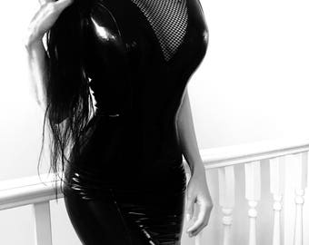 MADE TO ORDER. Simplicity latex and fishnet dress