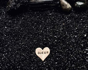 QUEER heart pin (hand-stamped brass)