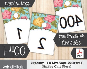 Piphany Facebook Live Numbers, Mirrored Image 1-400, Fashion Stylist, Shabby Chic Floral Design, Direct Sales, INSTANT DOWNLOAD