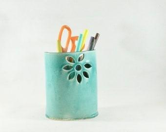 Ceramic Pencil Holder, Aqua Blue Pottery Vase,  Toothbrush Holder,  bathroom office Decor, kitchen utensil holder, Soap Dispenser 166