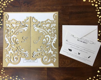 Luxurious XL Personalized Name Laser Cut Invitations Laser Cut Wedding Invitations Square Wedding Die Cut Laser Cut