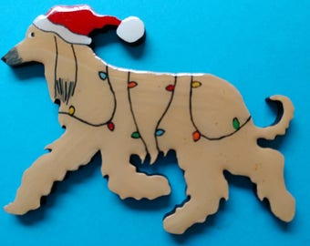 Afghan Hound Christmas Pin, Magnet or Ornament -Color Choice -Free Shipping-Hand Painted- Free Personalization Available