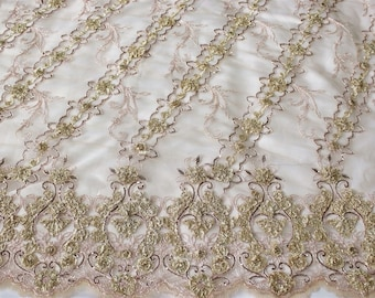 beutiful embroidery lace fabric with sequin on mesh, fany lace textile