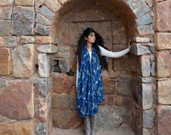 indigo blue navy cotton silk scarf, hand dyed, block printed scarf, christmas gifts for women, Fashion scarf  - Anaar