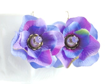 Spring Flower Earrings - Violet Silk Flowers with Creamy Pearls on Silver Wire