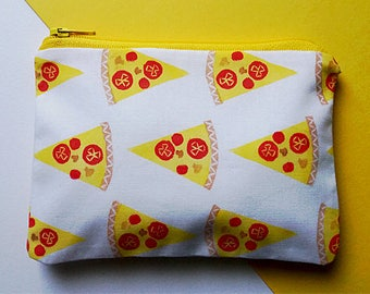 Hand Printed Pizza Pattern Coin Purse
