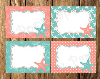 Printable Starfish Beach Bridal Shower Food Labels - Instant Download