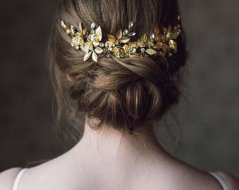 Wedding Headpiece, Gold Leaf Headpiece, Woodland, Grecian Hairpiece, Bridal Back Headpiece,Wedding Hair Vine,Leaf Halo,Bridal Crown- ANTHEIA