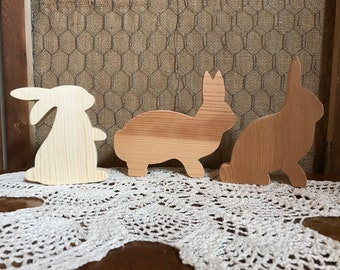 Unfinished Small Wooden Bunnies Set of 3