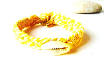 Bracelet - Little Cowrie bracelet, yellow braided bracelet, golden clasp, by The Sausage