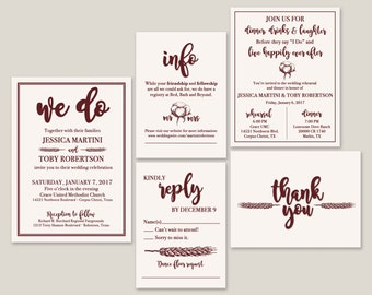 We Do - Wheat & Cotton Wedding Invitation Suite