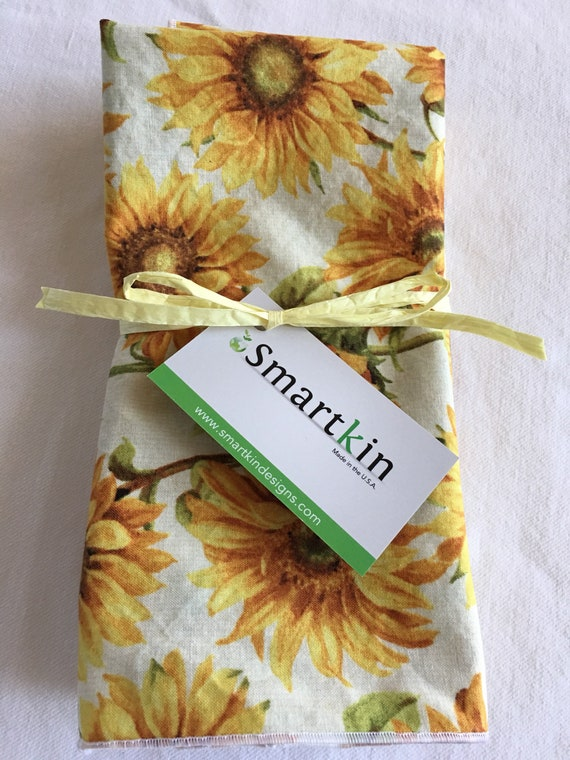 Mother's Day Yellow Sunflower All Cotton Cloth Dinner Napkin 18x18 in Size by Smartkin