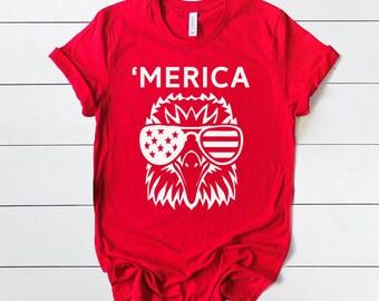 Merica Eagle Patriot Shirt - Mens and Womens Patriotic 4th of July t-shirt - memorial day shirt