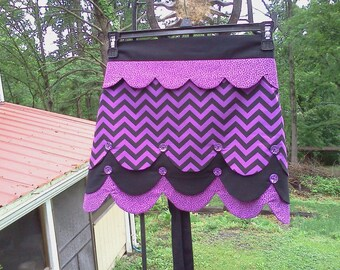 Sale - RTS Flirty Purple and Black Chevron Layered Scalloped Fully Lined Reversible Half Apron Boutique Style