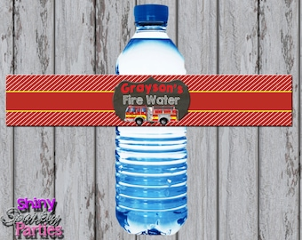 FIRETRUCK WATER Bottle LABELS, Firetruck Party Decor, Firetruck Water Wrappers, Firefighter, Fireman, Firetrucks Birthday, Water Wraps,