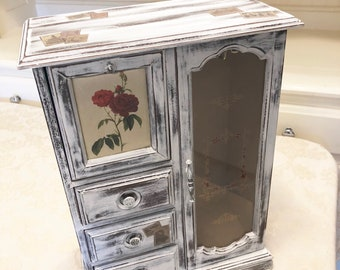 Handmade Jewelry Box Distressed Antiqued White Armoire Storage Jewelry Box Jewelry Storage Stamp Detail Vintage Stamps Bold Ring Storage