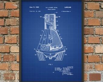 Mercury Space Capsule Patent Print #1 - NASA Spacecraft Patent Print - Space Travel - Space Exploration - Mercury Spacecraft Art Print