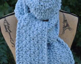 Chunky Knit Scarf - Mens Long Knit Scarf - Ladies Wool Scarf - Womens Winter Scarf - Soft Glacier Blue