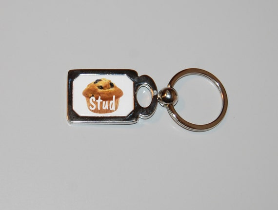 Stud muffin keychain, funny keychain, blueberry muffin, sarcastic keychain, sexy man, funny gifts, I'm a stud, stud muffin, gift for him