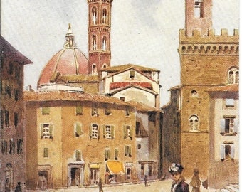 Campanile of the Badia, Florence, Italy, Raphael Tuck & Sons', Oilette Wide Wide World Antique Circa 1910-25 Unused Postcard No. 7374