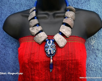 Chunky Statement Necklace, Large Beads, Sophisticated, Big Bohemian Evening necklace, Silver and Blue, Large Beads, Chunky Soutache Necklace