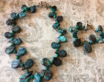Turquoise set, raw stones, sterling silver, handmade jewelry, custom made, stone jewelry, gifts for her, xmas present, christmas gift