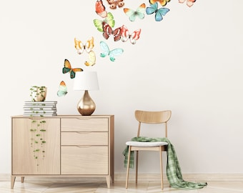 Butterfly Wall Decals - Fabric Wall Decal - Peel and Stick Wallpaper Material - Removable - WB920