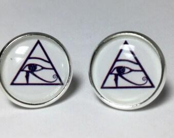 Pyramid Egyptian Eyes Earrings Egyptian Jewelry Protection Earrings