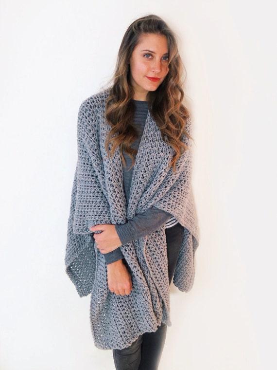 Pattern For Blanket Poncho Crochet Wrap Cape Cardigan Ruana