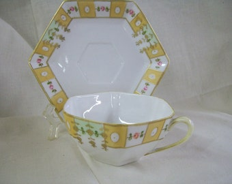 Antique Nippon The Jonroth Studios Hand Painted Cup & Saucer