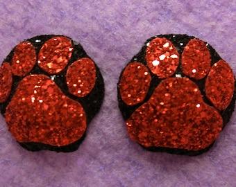 Black & Red Kitty Cat Paw Print Glitter Pasties