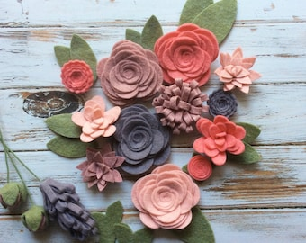 Wool Felt Fabric Flowers - Flower Embellishment - Coral Felt - 17 Flowers & 14 leaves - Create Planner Clips, Headbands, DIY Wreaths
