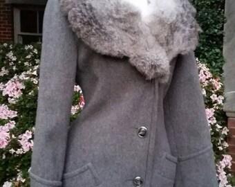 50s Wool Coat Fur Trim Grey S/M