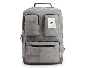 Multi Pocket Bag Mens School Backpack Womens College Bag Rucksack 9068