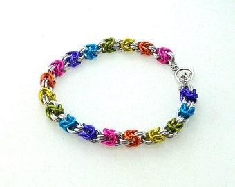 Chainmaille Jewellery, Half Byzantine Bracelet, Rainbow