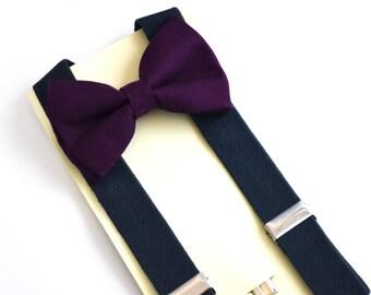 Eggplant Bow Tie and Dark Gray Suspender Set !! for toddler/ boy/ baby/Teen/Adult/Men