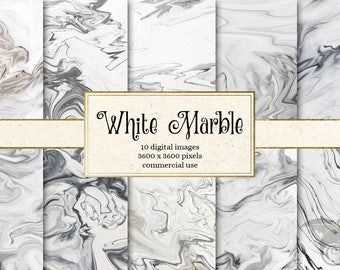 White Marble Digital Paper - black and white marble, natural stone marble textures, marble backgrounds, digital marble scrapbook paper