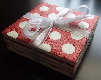 Handmade red glitter/polka dot ceramic tile coasters