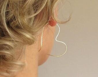 Silver Heart Earrings - Romantic Earrings - Good Luck Earrings - Heart Hoop Earrings - Heart Hoops - Lightweight earrings for everyday wear