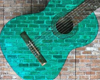 "Guitar Art, Guitar Photography, Music Lover Art, Teal Guitar Print, Graffiti, Vintage Guitar Photo, Abstract Guitar Art-""Guitar Graffiti"""