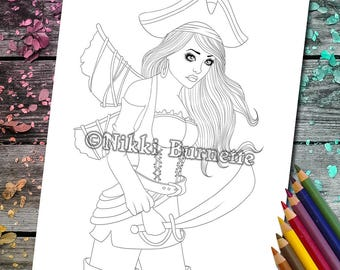 Coloring Page - Digital Stamp - Printable - Fantasy Art - Stamp - Adult Coloring Page - RAMSAY - by Nikki Burnette