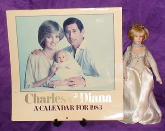 Princess Diana And Price Charles Lot!  Porcelain Doll And 1983 Calendar!